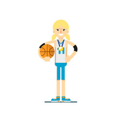 Smiling woman basketball player with ball vector