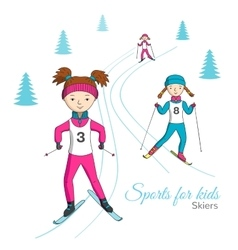 Sports for kids Skiers vector image