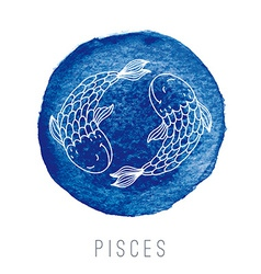 Watercolor of fishes Pisces vector image vector image