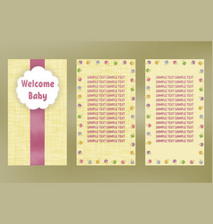 wellcome baby greeting card birthday postcard vector image