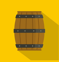 Wooden barrel icon flat style vector