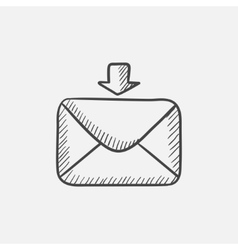 Incoming email sketch icon vector