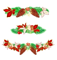Christmas decoration garlands with pine cones vector