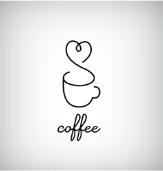 Coffee monogram line logo cafe bar menu vector