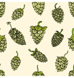 pattern with green hops vector image