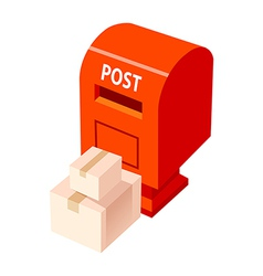 Icon postbox and package vector