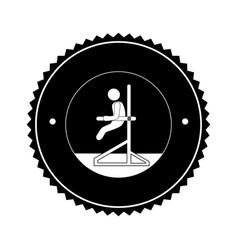 monochrome circular frame with gymnast vector image