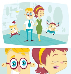 Happy cartoon family vector