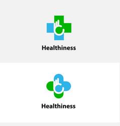 medical cross amp hand iconmedical center logo vector image