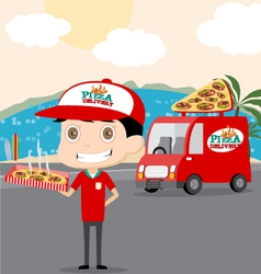 Pizza man and his truck vector