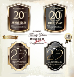 20 years anniversary labels vector