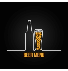 Beer bottle glass deign background vector