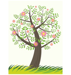 Single tree and flowers vector