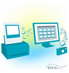 Pc computer monitor printed photo pictures of came vector