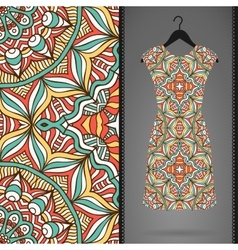 Card with dress and seamless pattern vector