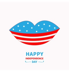 Lips with stars and strips independence day vector