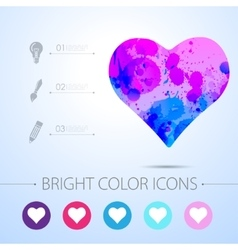 Game heart icon with infographic elements vector