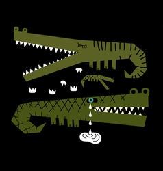 Crocodiles family vector