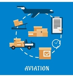 Air cargo and logistics flat design vector