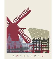 Amsterdam skyline poster vector image