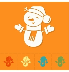 Funny snowman with scarf vector