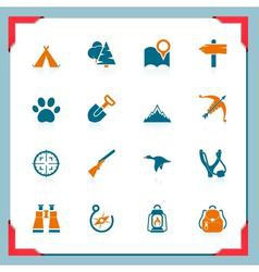 Camping and hunting icons - in a frame series vector