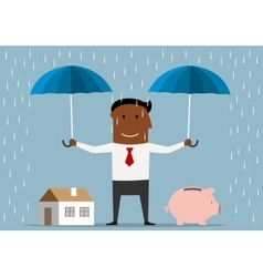Businessman protecting house and piggy bank vector
