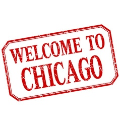 Chicago - welcome red vintage isolated label vector