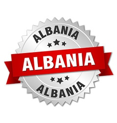 Albania round silver badge with red ribbon vector