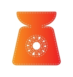 Kitchen scales sign orange applique isolated vector