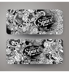 Cartoon cute doodles hand drawn space banners vector
