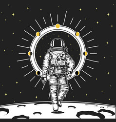 astronaut spaceman moon phases planets in solar vector image