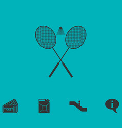 Badminton icon flat vector