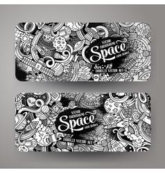 Cartoon cute doodles hand drawn space banners vector