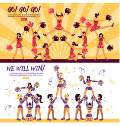 Cheerleaders team 2 flat banners vector
