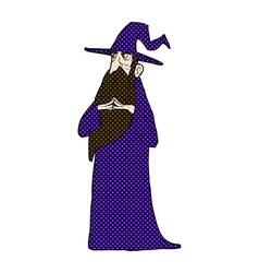 Comic cartoon old wizard vector