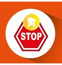 Construction stop warning icon graphic vector