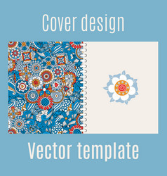 Cover design with blue floral background vector
