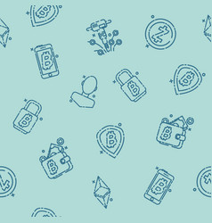 Cryptocurrency icons pattern vector