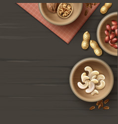 Different nuts in bowls vector