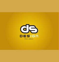 Ds d s alphabet letter combination digit white on vector