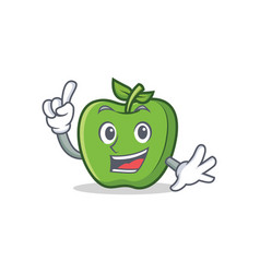 Finger green apple character cartoon vector