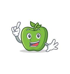 finger green apple character cartoon vector image