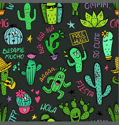 Funny seamless pattern of cactus characters vector