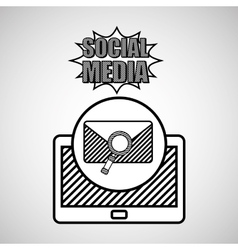hand drawing email search social media mobile vector image