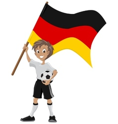 Happy soccer fan holds Germany flag vector image
