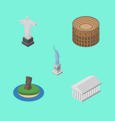 Isometric architecture set of coliseum rio chile vector