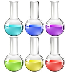 Liquid substance in glass flask vector