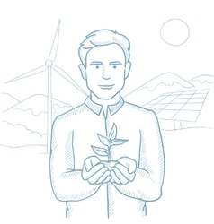 Man holding plant sketch vector
