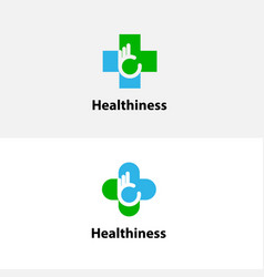 medical cross amp hand iconmedical center logo vector image